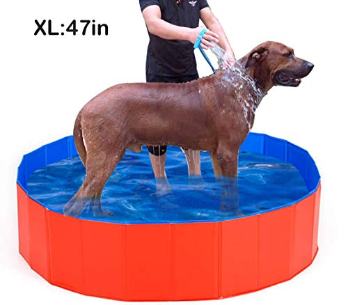 "Lumcrissy Foldable Dog Pet Pool, for Large Dog,Kiddie Pool for Dogs Cats and Kids,Portable Extra Swimming Pool Bathing Tub.H, Folding PVC Pool Bathtub Washer Kiddie Pools (Extra L(47""X12""))"