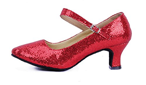 Women's Glitter Latin Ballroom Dance Shoes Pointed-Toe Y Strap Dancing Heels(7.5, Red)