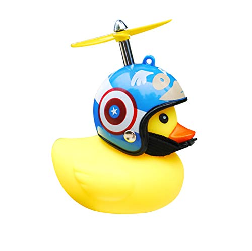 LAYE Rubber Duck Cute Toy Gift Car Ornaments Yellow Duck Car Dashboard Decorations with Propeller Helmet for Adults, Kids, Women, Men (Cute Captain America Style)