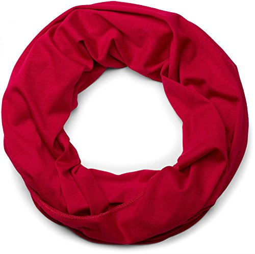 styleBREAKER unifarbener leichter Jersey Loop Schal, Schlauchschal, Tuch, Einfarbig, Unisex 01016115, Farbe:Rot