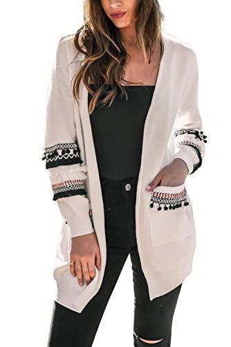 Donna Cardigan Maglione Oversize Manica Lunga Patchwork Cappotto Etnico con Tasche Boheme Chic Giubbotto Autunno Inverno Blazer Aperto Capispalla Giacche Taglie Forti Trench Outwear Kimono Maglia Top