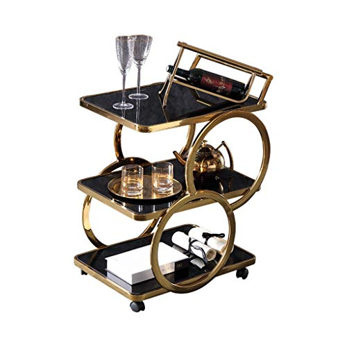 PLHMS Chrom-Metall Bar Tee Weinflaschenhalter Servierwagen, Movable Roll Organizer Trolley, Abstellflächen Service-Wagen mit gehärtetem Glas