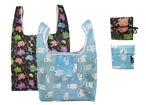 C-HOO エコバッグ 折りたたみ 買い物袋 可愛い おしゃれ コンパクトバッグ 軽量 軽い レジ袋 コンビニバッグ ショッピング/旅行/スポーツ用品の収納 (ゾウ&クマ)
