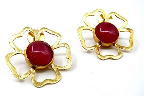 Jewelshingar Jewellery Fine Semi Precious Pink Agate Earrings For Women (53225URVI)