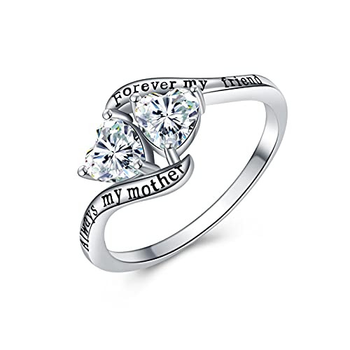925 Sterling Silver Mom Gifts for Mother Ring Always My Mother Forever My Friend
