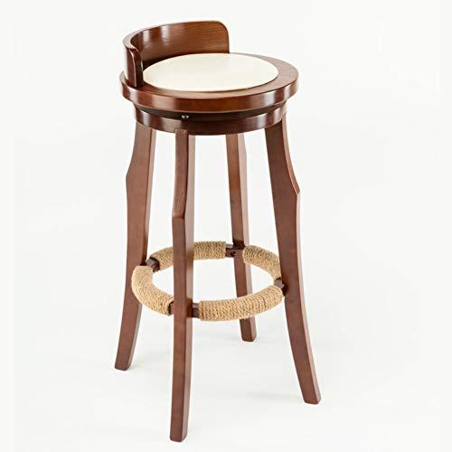 OR&DK Rond Tabouret de Bar, Bois Massif Chaise pub Rotation Tabouret Haut avec Dossier Bas Nordique Vintage Restaurant Chaise de comptoir-Le Riz Blanc 70cm