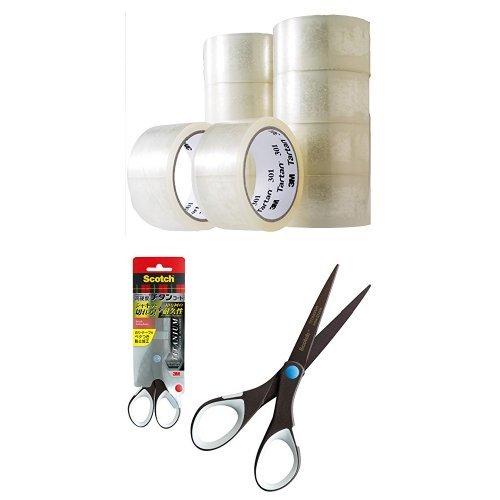 3M 梱包テープ タータン 10巻 スコッチ プロ仕様 はさみ チタンコート ベタつき防止加工
