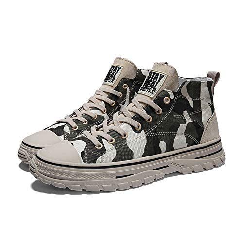 QZJDH Mens Casual Shoes High Top Sneaker Breathable Athletic Running Boots(11 M US,Camo Green)