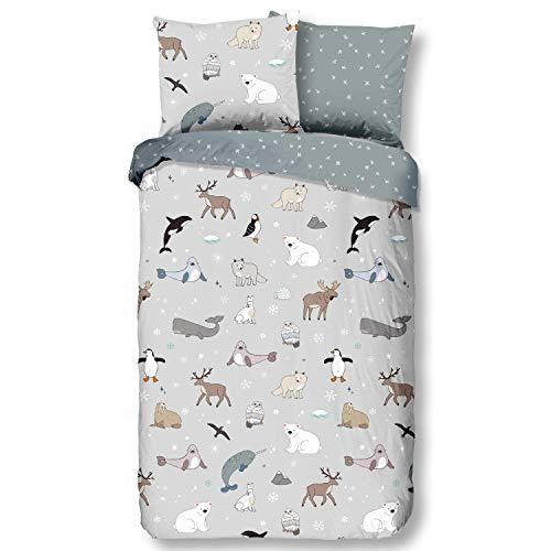 Aminata Kids Premium Biber-Bettwäsche Pinguin Eisbär Hirsch 135x200 cm + 80x80 cm, Baumwolle, Reißverschluss, Kinderbettwäsche mit Winter-Motiv, warm, weich & kuschelig, Weihnachten