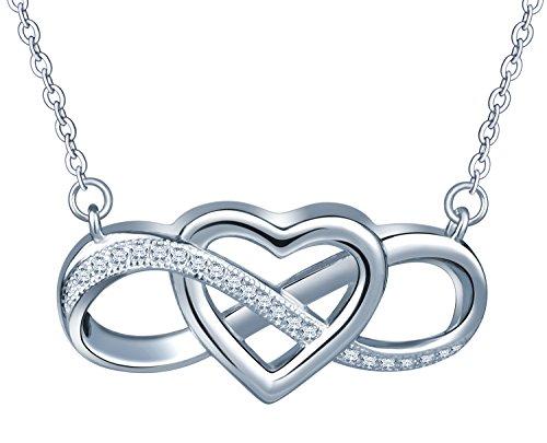 Unendlich U Elegant Herz Unendlichkeit Symbol Damen Halskette 925 Sterling Silber Zirkonia Anhänger Verstellbare Kette, Silber