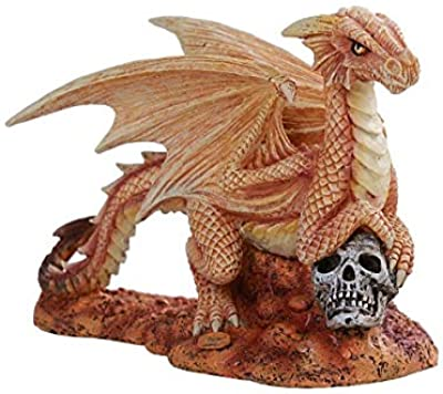 Pacific Giftware Anne Stokes Age of Dragons Desert Dragon Wyrmling on Skull Head Rock Home Tabletop Decorative Resin Figurine
