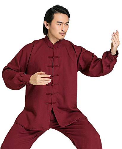 ANNSR Tai Chi Kung-Fu Uniform Katoen Hennep Lange mouwen Kung Fu Uniform Unisex Vechtsporten Trainen Kleding Ochtend Oefening Suitperformance Kostuum