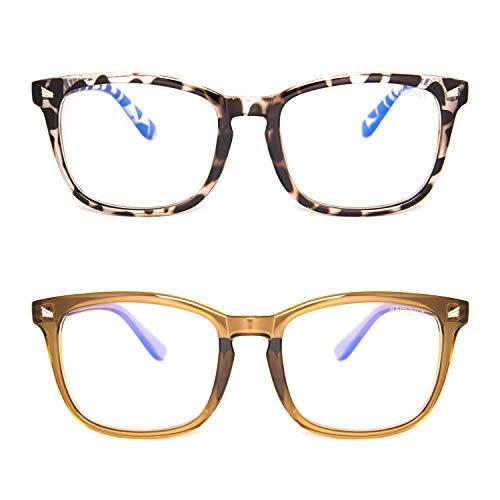 ANDOILT Blue Light Blocking Glasses for Women Men Square Computer Glasses Nerd Reading Gaming Glasses Frame Eyeglasses Champagne Leopard