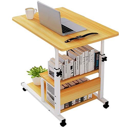 Mesa auxiliar auxiliar para sofá cama, ruedas ajustables en forma de C, mesa de noche, escritorio portátil con ruedas para computadora portátil, mesa portátil (color: B)