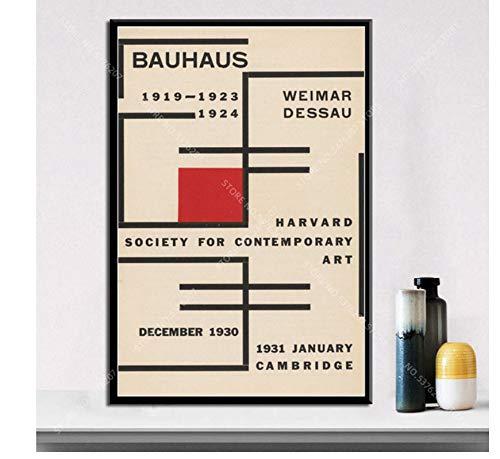 asfrata265 Rahmenlose Malerei Art Decor Bauhaus Ausstellung 1923 Weimer Ausstellung Abstraktes Kunstwerk Moderne Wandkunst Leinwand Malerei Poster Szx279 40X50Cm