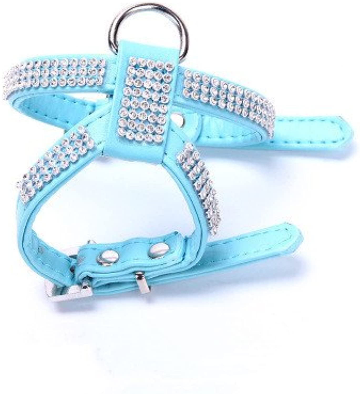 Dog Chest Back, highGrade PU PU Chest Back Cover pet Chest Strap Dog Leash pet Supplies (color   bluee, Size   M)