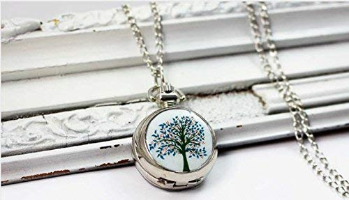 Magnifique montre de poche pour arbre coloré, collier d'arbre, bijoux en argent vintage, pendentif tendance, montre à chaîne.