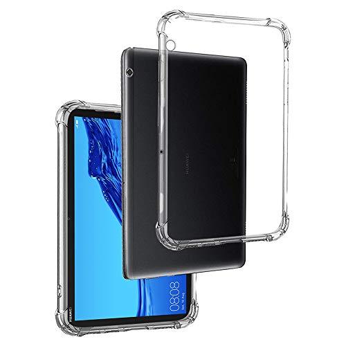 REY - Funda Anti-Shock Gel Transparente para Tablet Huawei MEDIAPAD T5 10.1', Ultra Fina 0,33mm, Esquinas Reforzadas, Silicona TPU de Alta Resistencia y Flexibilidad