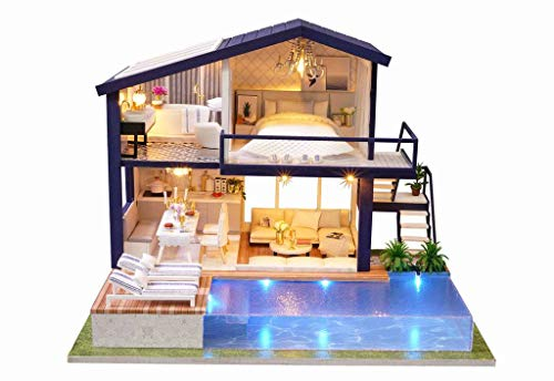 Rylai 3D Puzzles Miniature Dollhouse DIY Kit Time Apartment Series Dolls Houses Accessories with Furniture LED Music Box