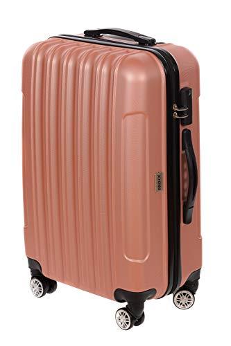 Birendy - Hartschalenkoffer Handgepäck 35004 Trolley mit 4 Rollen, Zahlenschloss und Ausziehgriff - Größe L oder als Gepäck-Sets - Rose-Gold