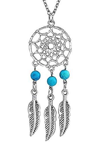 EVRYLON Collar de atrapasueños de Mujer étnica India Americana 3 Perlas