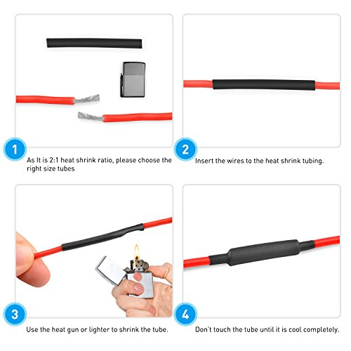 Nilight 270PCS 3:1 Heat Shrink Tubing Double-wall Adhesive Lined Shrink Wrap Tubing Assortment Kit 6 Size 2 Color KIT Black Red, 2 years Warranty