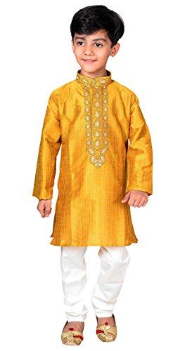 Pijama Kurta para niño Shalwar Kameez Sherwani Boda Mehendi 935 (5 años, Mostaza)