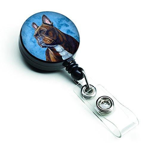 Caroline's Treasures LH9385BUBR Blue French Bulldog Retractable Badge Reel, Belt Clip, Multicolor