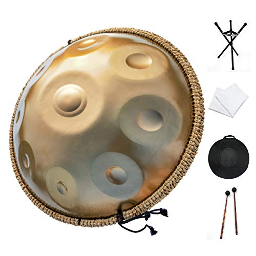 Handpan drum instrument, AS TEMAN handpan in D Minor 9 Notes 22 inches Steel Hand Drum with Soft Hand Pan Bag, 2 handpan mallet,Handpan Stand,dust-free cloth,gold (440hz, gold)