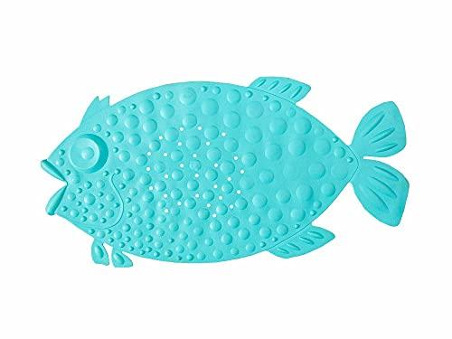 LOVEJIA Bath Tub Shower Mat Non-Slip Fish Shape Cartoon Design Bathtub Mats with Suction Cups and Drain Holes for Baby,Kids Bathroom mat Machine Washable,29.1 x 14.6 Inches (Light Blue)