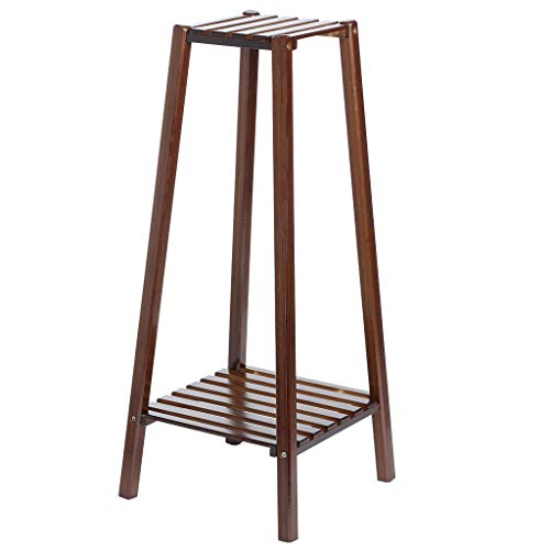 Bamboo Plant Flower Stand Rack, Portable 2-Tier Corner Tall...