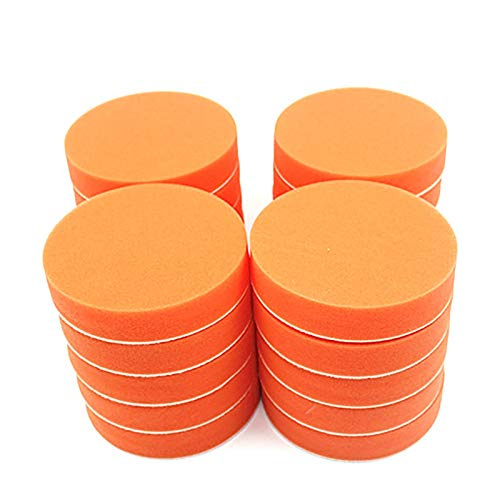 DXFFOK 20 unids 125 mm Polidos brutos pulidos a Almohadillas de Pulido de 5 Pulgadas Esponja Plana Pulidor de automóviles Limpiar depilación Pintura automática Mantenimiento Cuidado (Color : Orange)