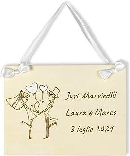Targa cartello sposi in legno personalizzabile