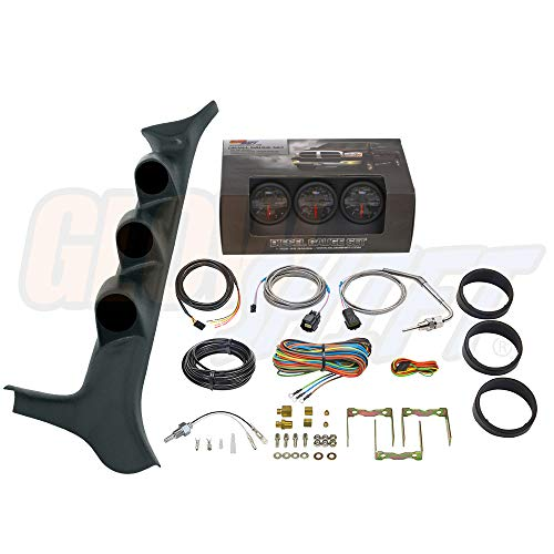 GlowShift Diesel Gauge Package for 1992-1997 Ford F-Series F-250 F-350 7.3L Power Stroke - Black 7 Color 60 PSI Boost, 1500 F Pyrometer EGT & Transmission Temp Gauges - Black Triple Pillar Pod