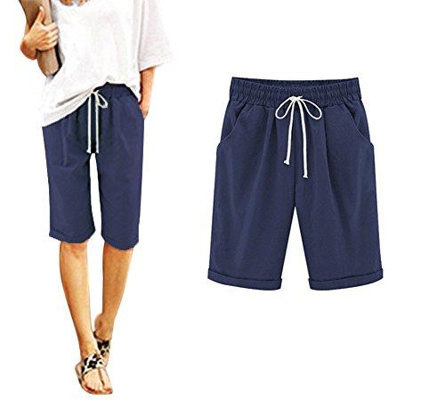 Minetom Pantacourt Femme Été Causal Coton Lin Ample Pantalon Fluide Confortable 1/2 Longueur Léger Cordon Élastique Sport Yoga Pants Short Bermudas B Marine EU XX-Large