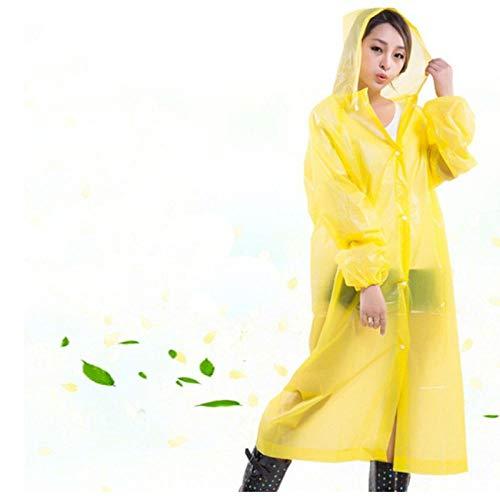 zhaoyangeng Herbruikbare Vrouwen Regenjas Mannen Poncho Transparante Regenjas Plastic Regenjas Deken Camping Waterdichte Regenkleding- Geel- One Size