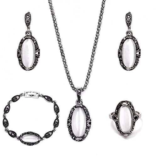 RHYJKOJ Sieradenset Sieraden Set Vintage Met Verse Hanger Ketting Oorbellen Armband En Ring Voor Vrouw Parure Bijoux Femme