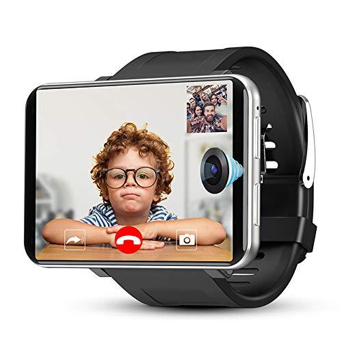 Reloj inteligente 4G/LTE, GPS Smart Watch con pantalla táctil IPS de 2.86 pulgadas, con cámaras duales, monitor de frecuencia cardíaca, para hombres y mujeres, Android iOS (plata, 1G/16G)