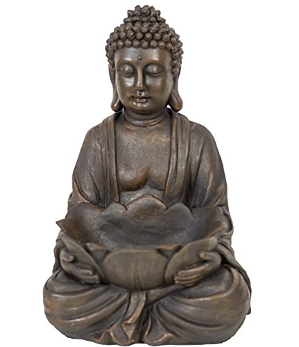 WHW Whole House Worlds Seated Buddha with Bowl, Closed Hand, 11 7/8'
