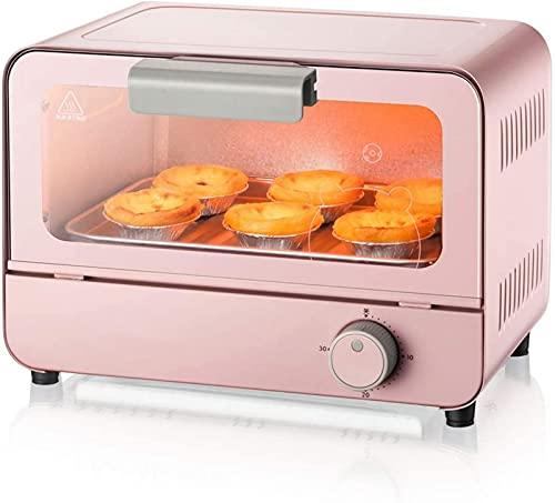 ZJDM Mini Horno de 6L Temperatura Ajustable 50-250 ℃ y 30 Minutos Temporizador Horno doméstico Multifuncional Automático para Pasteles Vidrio Templado 800W