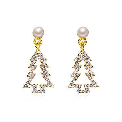 LIGH Korean Personality Hollow Small Pine Tree Earrings Cute Diamond Christmas Tree Earrings Personality Gift For Female - Gold