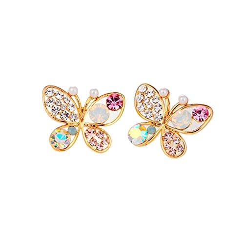 LUFA Diamante Orecchini signore temperamento Hollow imitazione perla della farfalla