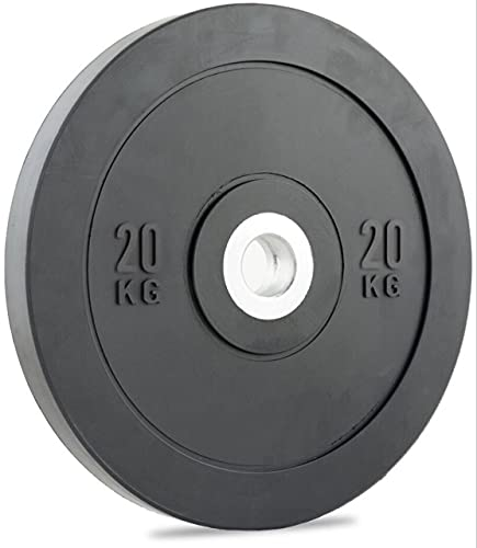 BUDDYFIT Professional Weight Plates - 2-Inch Olympic Standard Weight Plate - Heavy-Duty Bumper Barbell Weights - Reinforced Center Sleeve, Floor Protection - Bodybuilding - 20Kg Single Weight Plate