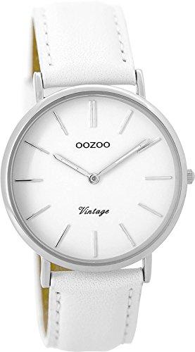 Oozoo Vintage Damenuhr Lederband 36 MM Weiss/Weiss C9312