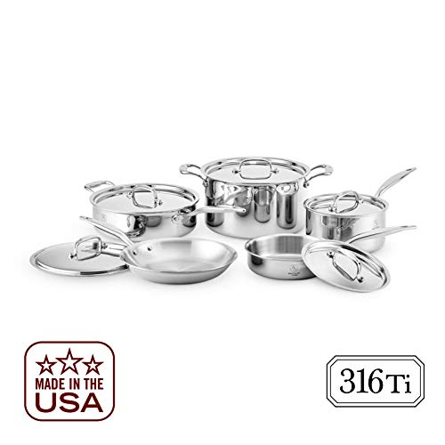 Heritage Steel 10 Piece Cookware Set - Titanium Strengthened 316Ti Stainless Steel with 7-Ply...