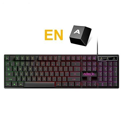Chaos Wired Gaming Keyboard Mechanische Gefühl Backlit Tastaturen USB 104 Keycaps Russische Tastatur wasserdichte Computer-Spiel-Keyboards (Color : Black English)