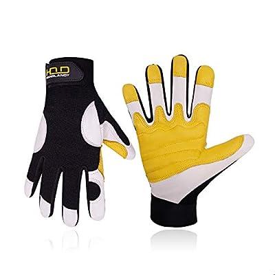 HANDLANDY Leather Work Gloves Men & Women, Premium Goatskin Grip Working Gloves, Flexible & Grip Yard Garden Gloves (Large)