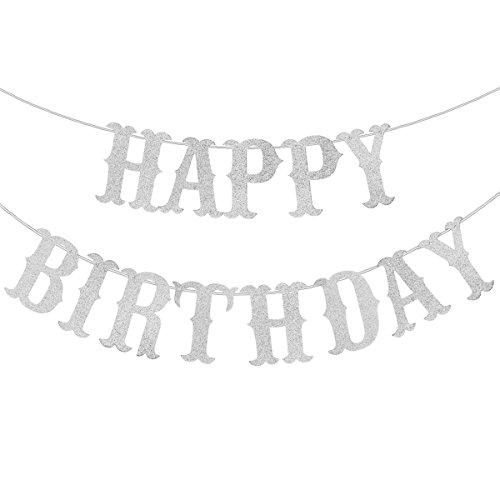 BESTOYARD Geburtstag Bunting Banner Girlande 2M Buchstaben Papier Wimpelkette Dekorationen Happy Birthday (Silber)