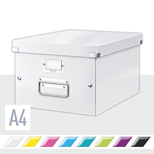 Leitz Click & Store WOW - Scatola Per Archiviazione Universale, M, Bianco Metallizato