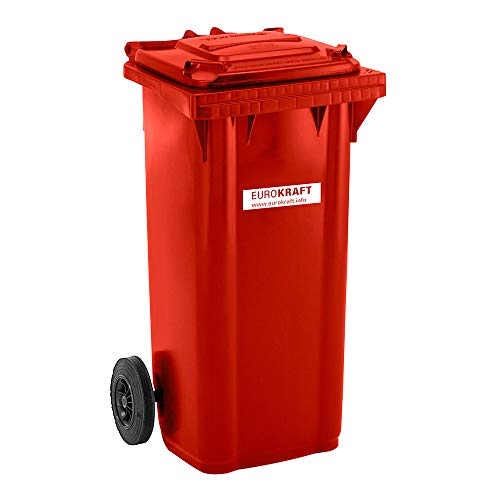 EUROKRAFT Großmülltonne aus Kunststoff, nach DIN EN 840 - Volumen 120 l, HxBxT 933 x 482 x 552 mm - rot - Abfallbehälter Abfallbehälter für außen Abfallsammler Abfalltonne Abfalltonnen Großmüllbehälter Großmüllbehälter aus Kunststoff